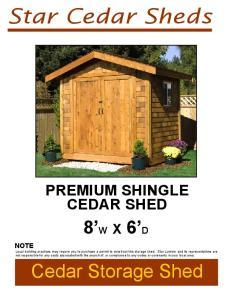 Star Cedar Sheds PREMIUM SHINGLE CEDAR SHED