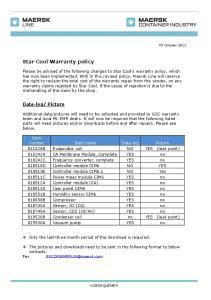 Star Cool Warranty policy