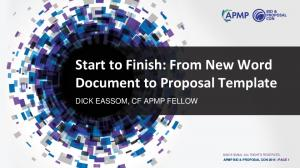 Start to Finish: From New Word Document to Proposal Template