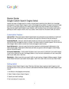 Starter Guide Google Custom Search Engine (beta)