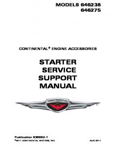 STARTER SERVICE SUPPORT MANUAL