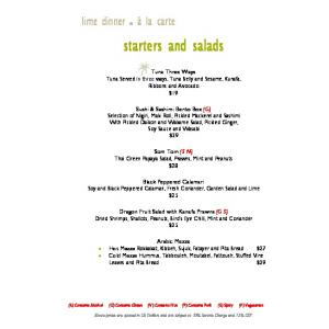 starters and salads Tuna Three Ways Tuna Served in three ways, Tuna Belly and Sesame, Kunafa, Ribbons and Avocado $19