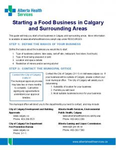 Starting a Food Business in Calgary and Surrounding Areas