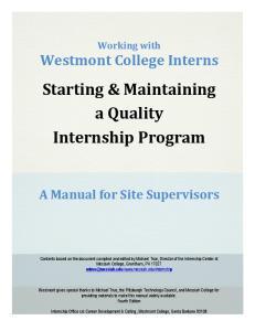 Starting & Maintaining a Quality Internship Program