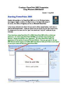 Starting PowerPoint 2003