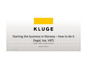 Starting the business in Norway how to do it (legal, tax, VAT)