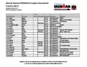 Startlist Mainova IRONMAN European Championship Frankfurt 2016