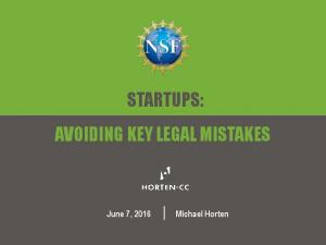 STARTUPS: AVOIDING KEY LEGAL MISTAKES