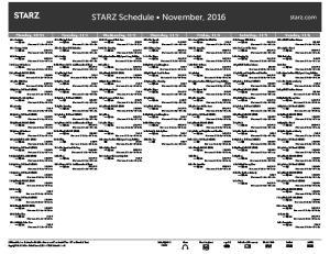 STARZ Schedule November, 2016