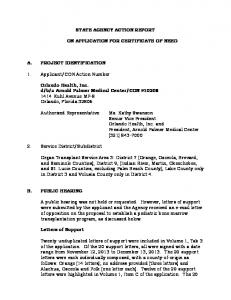 STATE AGENCY ACTION REPORT ON APPLICATION FOR CERTIFICATE OF NEED
