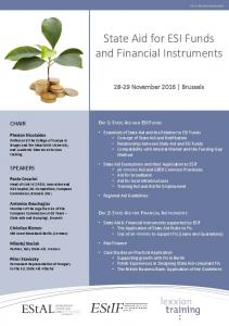 State Aid for ESI Funds and Financial Instruments
