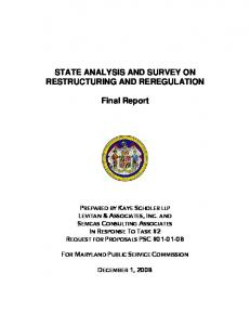STATE ANALYSIS AND SURVEY ON RESTRUCTURING AND REREGULATION. Final Report