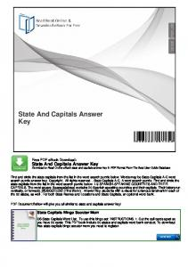 State And Capitals Answer Key