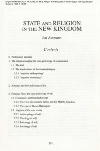 STATE AND RELIGION IN THE NEW KINGDOM