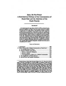 State, Be Not Proud: A Retributivist Defense of the Commutation of Death Row and the Abolition of the Death Penalty