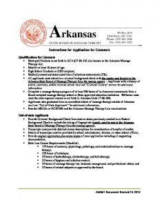 STATE BOARD OF MASSAGE THERAPY. Instructions for Application for Licensure