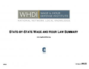 STATE-BY-STATE WAGE AND HOUR LAW SUMMARY