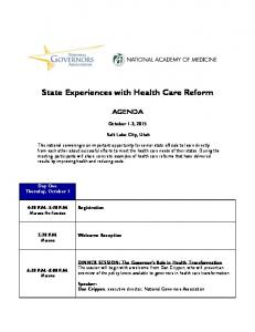 State Experiences with Health Care Reform