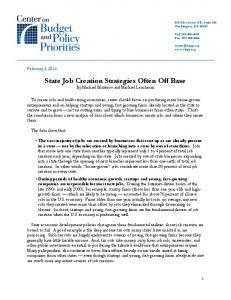 State Job Creation Strategies Often Off Base By Michael Mazerov and Michael Leachman
