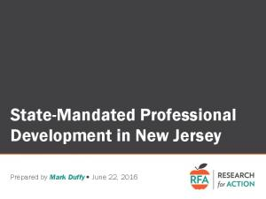 State-Mandated Professional Development in New Jersey