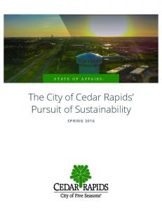 STATE OF AFFAIRS: The City of Cedar Rapids Pursuit of Sustainability