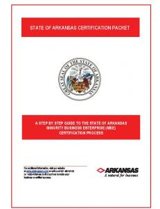 STATE OF ARKANSAS CERTIFICATION PACKET