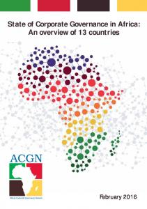 State of Corporate Governance in Africa: An overview of 13 countries