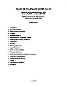 STATE OF DELAWARE MERIT RULES