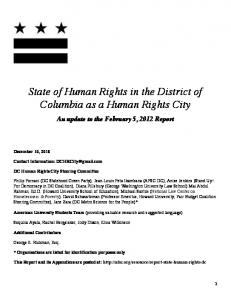 State of Human Rights in the District of Columbia as a Human Rights City