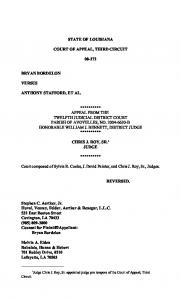 STATE OF LOUISIANA COURT OF APPEAL, THIRD CIRCUIT