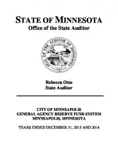 STATE OF MINNESOTA Office of the State Auditor