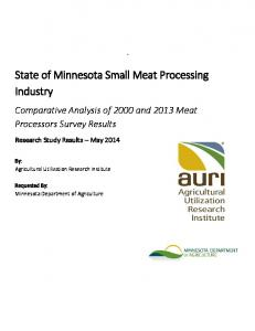 State of Minnesota Small Meat Processing Industry