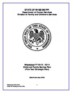 STATE OF MISSISSIPPI Department of Human Services Division of Family and Children s Services