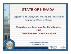 STATE OF NEVADA. Department of Employment, Training and Rehabilitation Employment Security Division