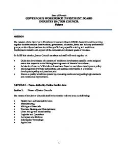 State of Nevada GOVERNOR S WORKFORCE INVESTMENT BOARD INDUSTRY SECTOR COUNCIL Bylaws
