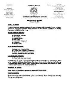 State Of Nevada STATE CONTRACTORS BOARD