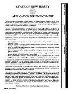 STATE OF NEW JERSEY APPLICATION FOR EMPLOYMENT