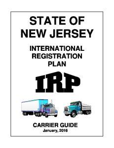 STATE OF NEW JERSEY INTERNATIONAL REGISTRATION PLAN