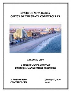 STATE OF NEW JERSEY OFFICE OF THE STATE COMPTROLLER