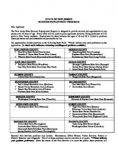 STATE OF NEW JERSEY SUMMER EMPLOYMENT PROGRAM
