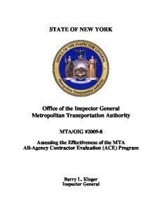 STATE OF NEW YORK. Office of the Inspector General Metropolitan Transportation Authority