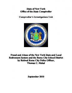 State of New York Office of the State Comptroller Comptroller s Investigations Unit