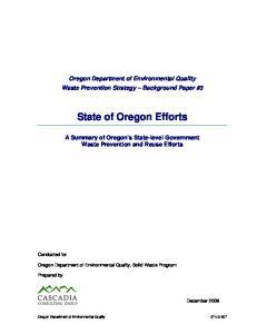 State of Oregon Efforts