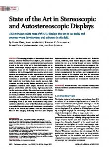 State of the Art in Stereoscopic and Autostereoscopic Displays