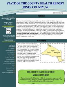 STATE OF THE COUNTY HEALTH REPORT JONES COUNTY, NC