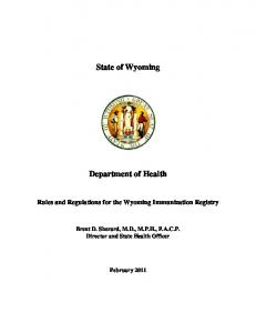 State of Wyoming. Department of Health