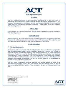 State Organization Bylaws. Prologue