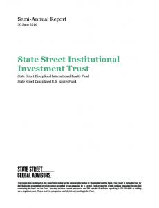 State Street Institutional Investment Trust State Street Disciplined International Equity Fund State Street Disciplined U.S