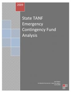 State TANF Emergency Contingency Fund Analysis