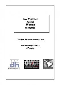State Violence Against Women. in Mexico. The San Salvador Atenco Case